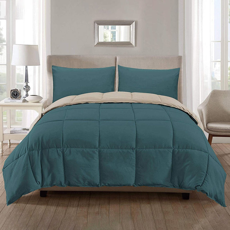 3-Piece: Ultra Soft Premium Down Alternative Reversible Comforter All Season Bedding Teal/Taupe Full/Queen - DailySale