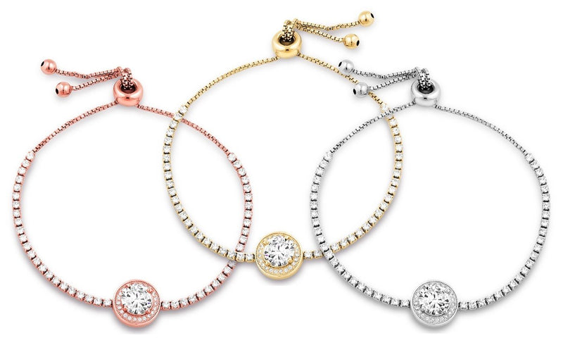 3.00 CTTW Adjustable Halo Tennis Bracelet - Assorted Colors Jewelry - DailySale