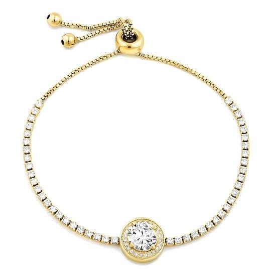 3.00 CTTW Adjustable Halo Tennis Bracelet - Assorted Colors Jewelry Gold - DailySale