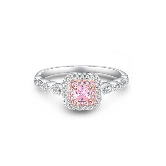 3.00 CTTW Pink Sapphire Princess Cut Halo Ring Rings - DailySale