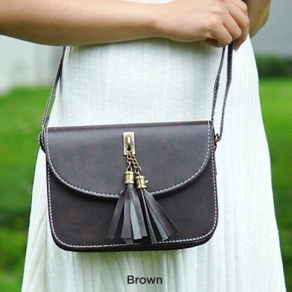 Snap-Close Tassels Crossbody - Brown - DailySale, Inc