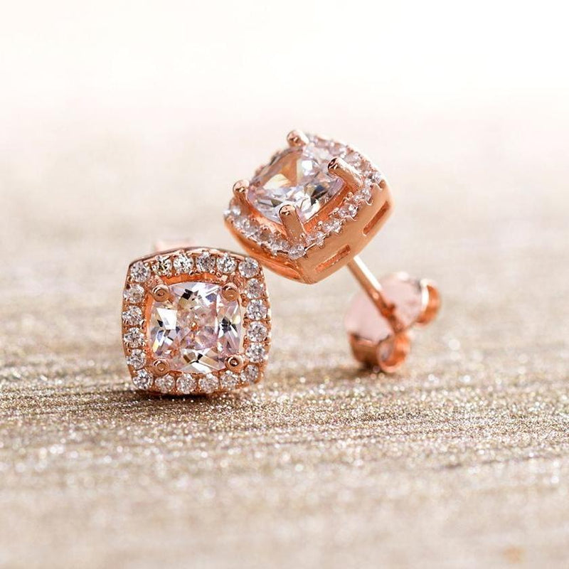 3.44 CTTW Halo Stud Princess Cut Earrings with Swarovski Elements - Rose Gold Jewelry - DailySale
