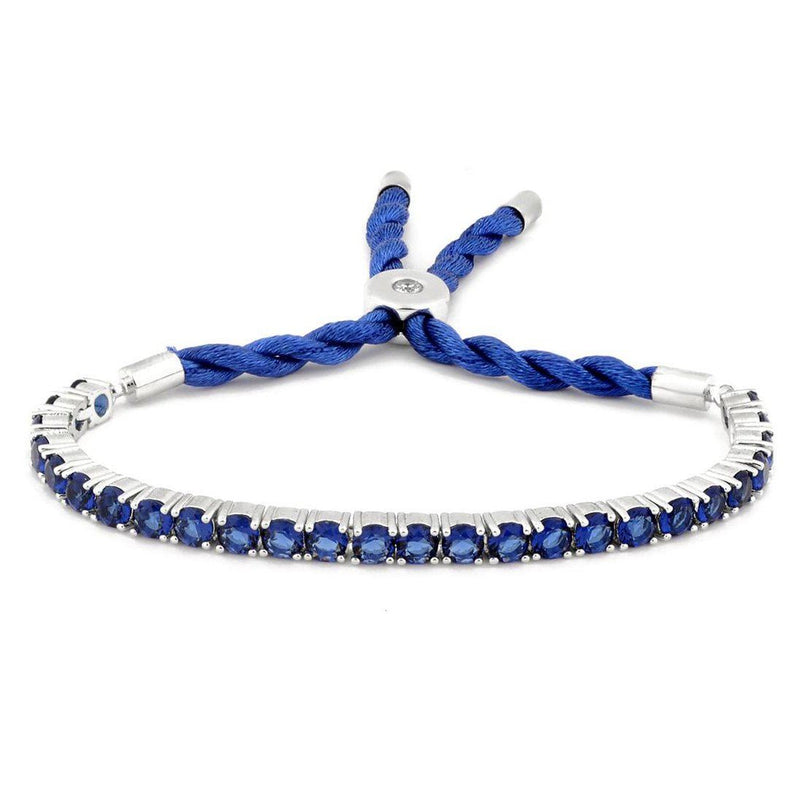 3.55 CTW Created Blue Sapphire Cord Adjustable Bracelet by MUIBLU Gems Bracelets - DailySale
