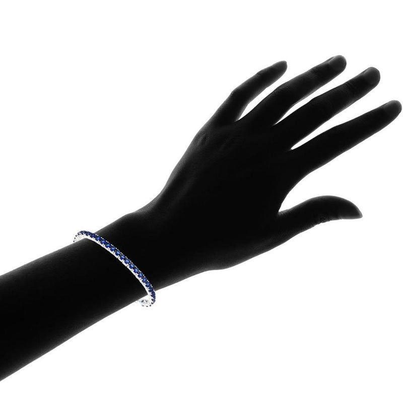 3.55 CTW Created Blue Sapphire Cord Adjustable Bracelet Jewelry - DailySale