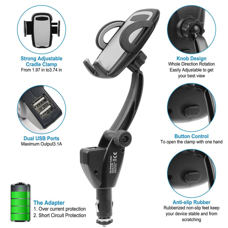 360° Dual USB Smartphone Mounting Car Charger Automotive - DailySale