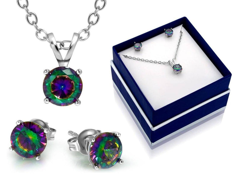 3CTW Round Rainbow Topaz Classic Necklace And Earring Set By MUIBLU Gems Jewelry - DailySale