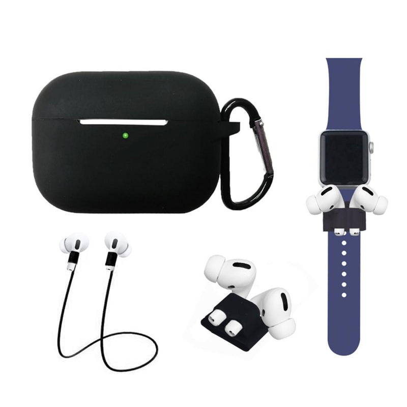 4-In-1 Airpods Pro3 Case Carabiner Sleeve Anti-lost Rope Set Gadgets & Accessories Black - DailySale