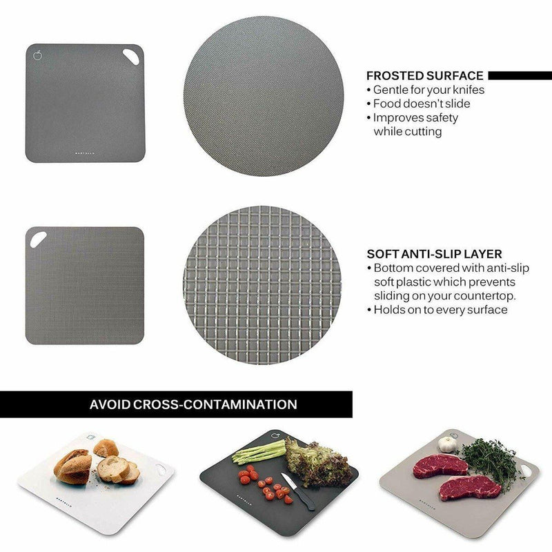 4-Pack: Bartollo Non-Slip Cutting Boards with Free Knife Kitchen Essentials - DailySale