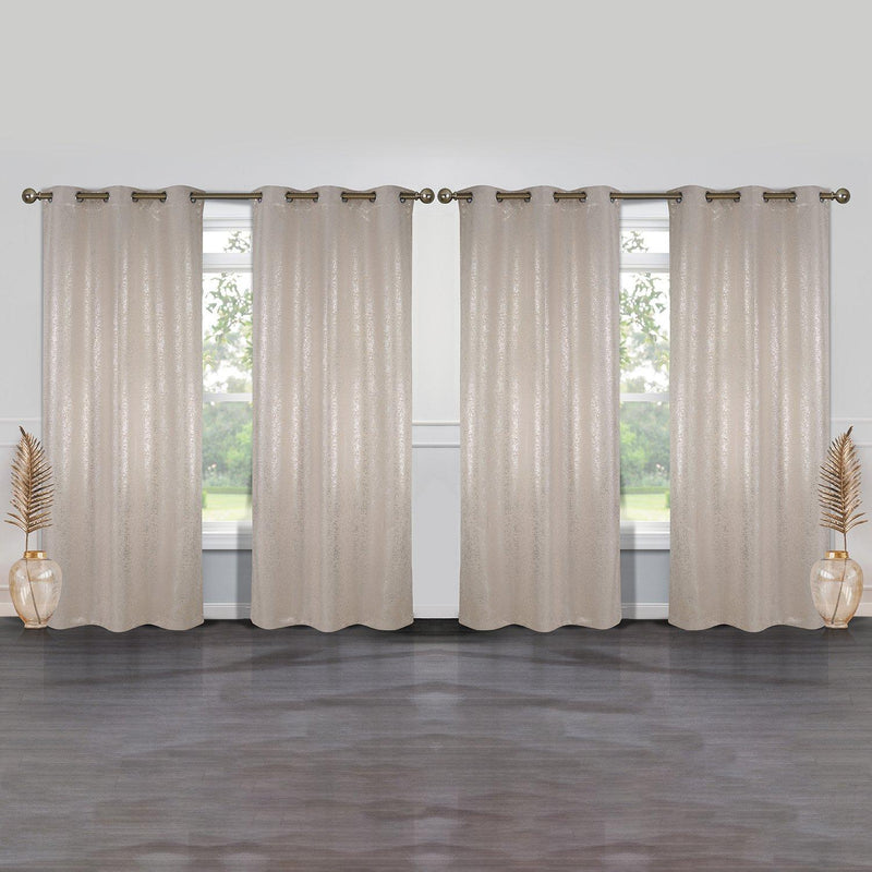 4-Pack: Cassie Metallic Textured Blackout Room Darkening Grommet Top Curtains Lighting & Decor Beige - DailySale