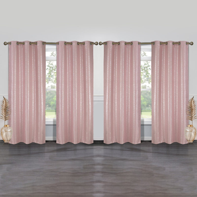 4-Pack: Cassie Metallic Textured Blackout Room Darkening Grommet Top Curtains Lighting & Decor Blush - DailySale