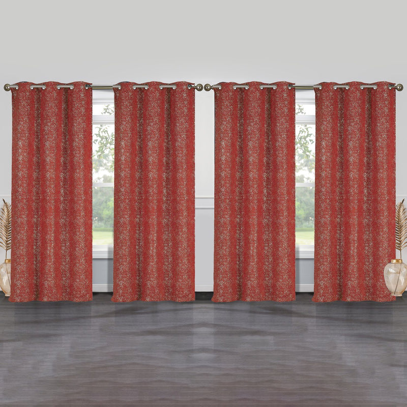 4-Pack: Cassie Metallic Textured Blackout Room Darkening Grommet Top Curtains Lighting & Decor Brick - DailySale