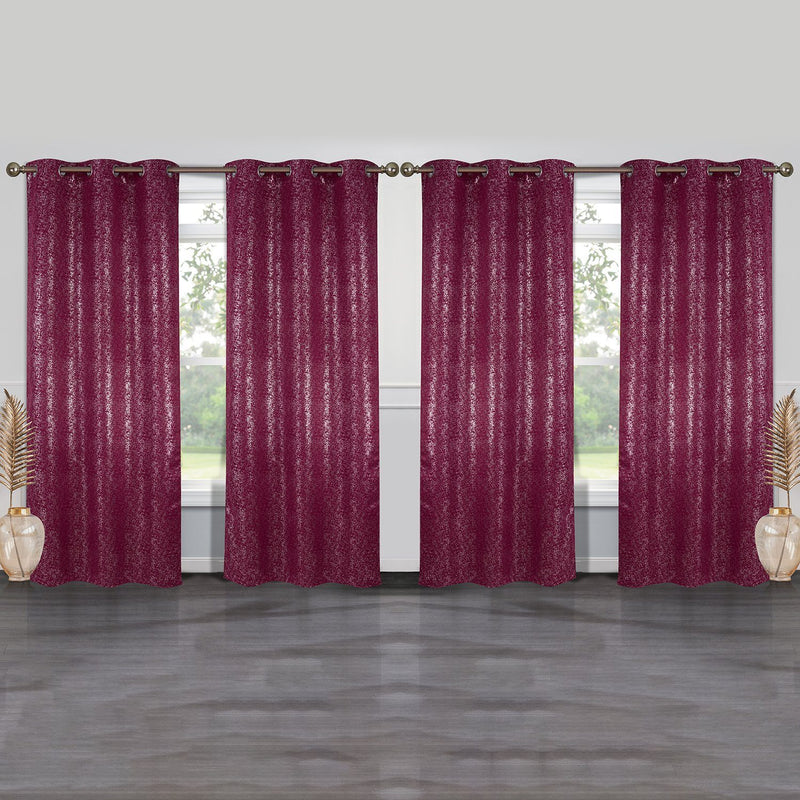4-Pack: Cassie Metallic Textured Blackout Room Darkening Grommet Top Curtains Lighting & Decor Burgundy - DailySale