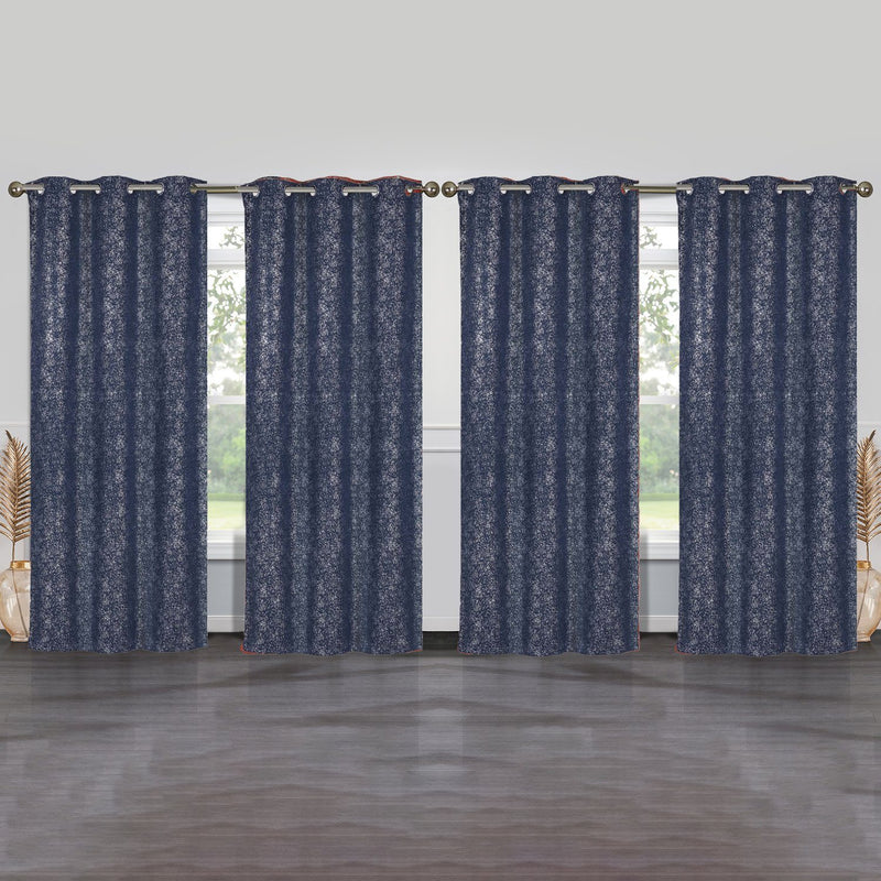 4-Pack: Cassie Metallic Textured Blackout Room Darkening Grommet Top Curtains Lighting & Decor Navy - DailySale