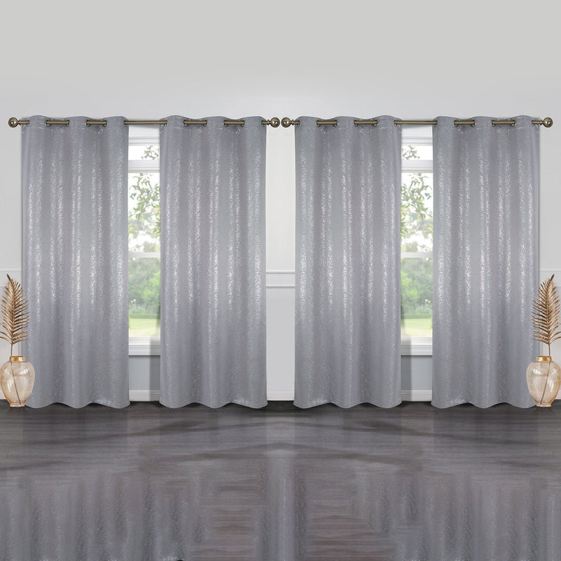 4-Pack: Cassie Metallic Textured Blackout Room Darkening Grommet Top Curtains Lighting & Decor Silver - DailySale