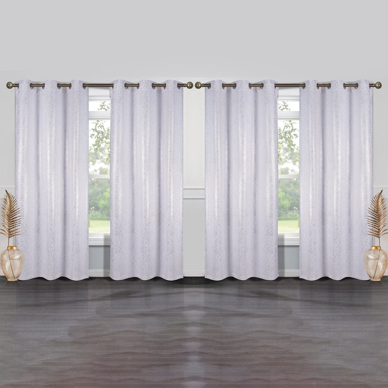 4-Pack: Cassie Metallic Textured Blackout Room Darkening Grommet Top Curtains Lighting & Decor White - DailySale