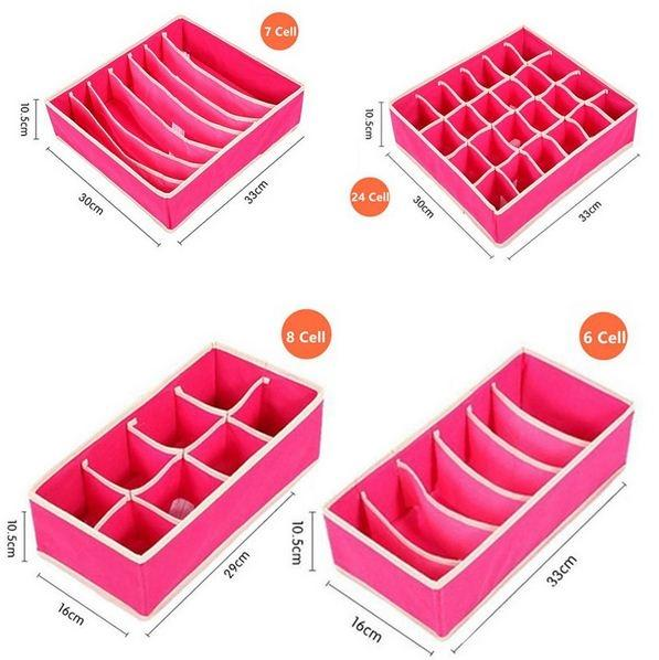 4-Pack: Collapsible Drawer Organizers - Pink Home Essentials - DailySale
