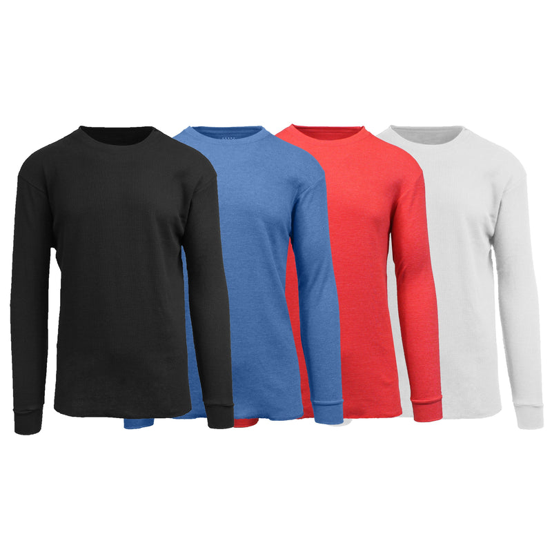 4-Pack: Men's Waffle-Knit Thermal Shirts Men's Clothing Black/Heather Blue/Red/White S - DailySale