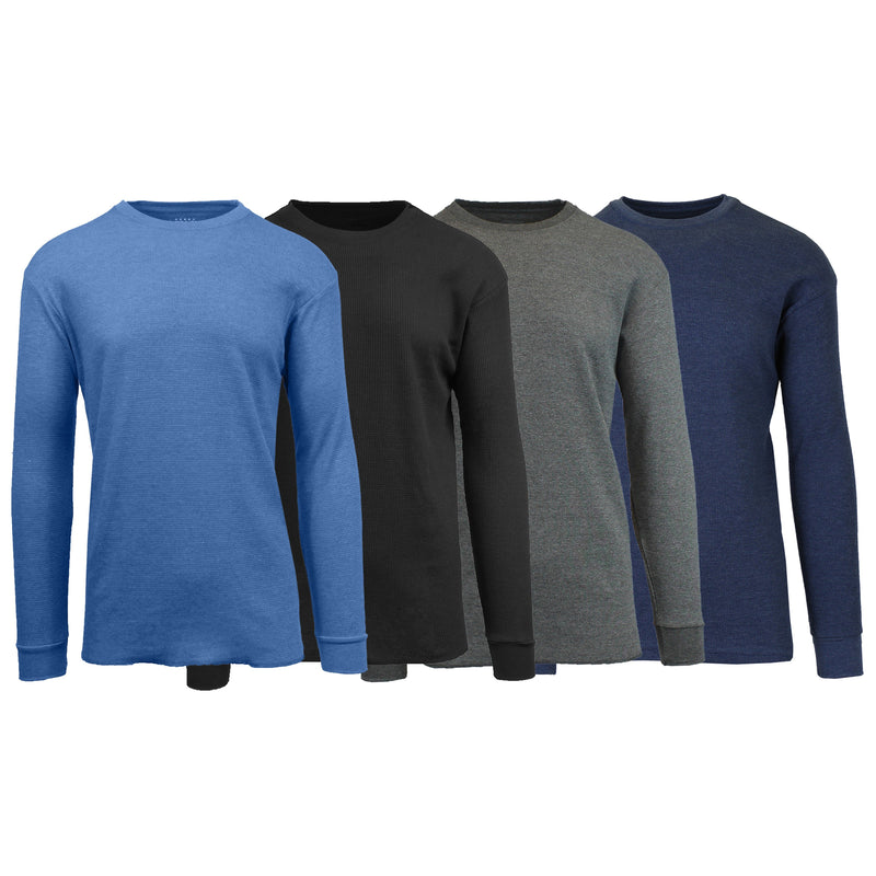 4-Pack: Men's Waffle-Knit Thermal Shirts Men's Clothing Heather Blue/Black/Charcoal/Navy S - DailySale