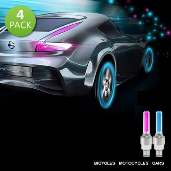 4-Pack: Motion Activated LED Tire Valve Stem Lights - Assorted Colors Auto Accessories - DailySale
