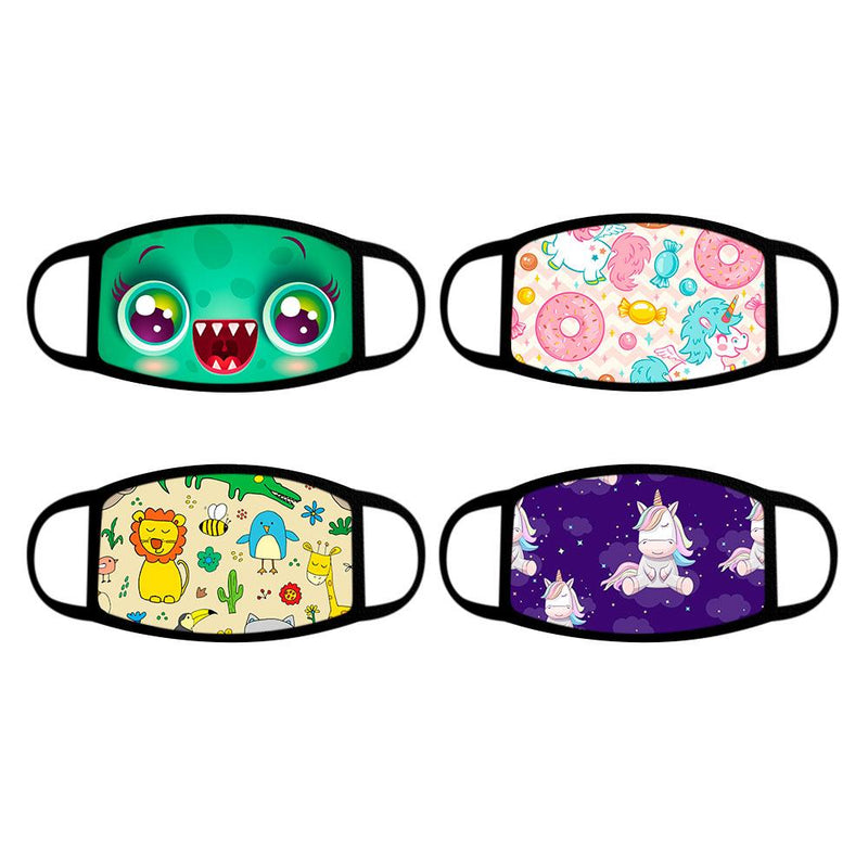4-Pack: Reusable Cotton Face Mask Wellness & Fitness Fun With Kids - DailySale