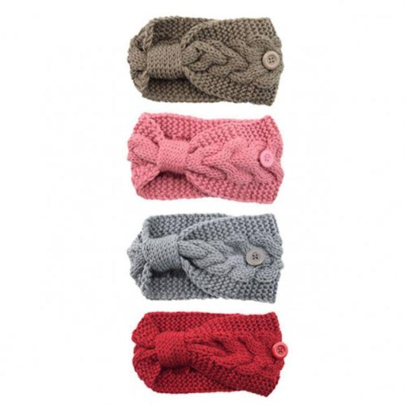 4-Pack: Women's Winter Headband and Ear Warmer with Buttons to Hold Mask