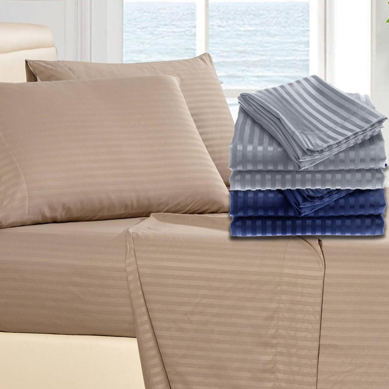 4-Piece: 1800 Series Brushed Microfiber Dobby Striped Sheet Set Linen & Bedding - DailySale