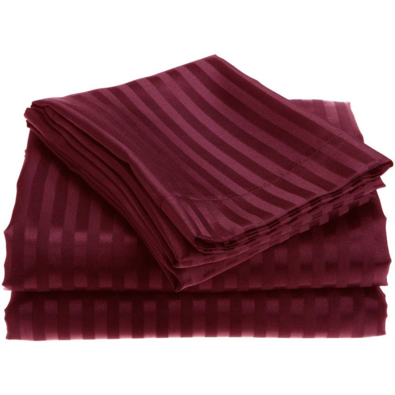 4-Piece: 1800 Series Brushed Microfiber Dobby Striped Sheet Set Linen & Bedding Twin Burgundy - DailySale