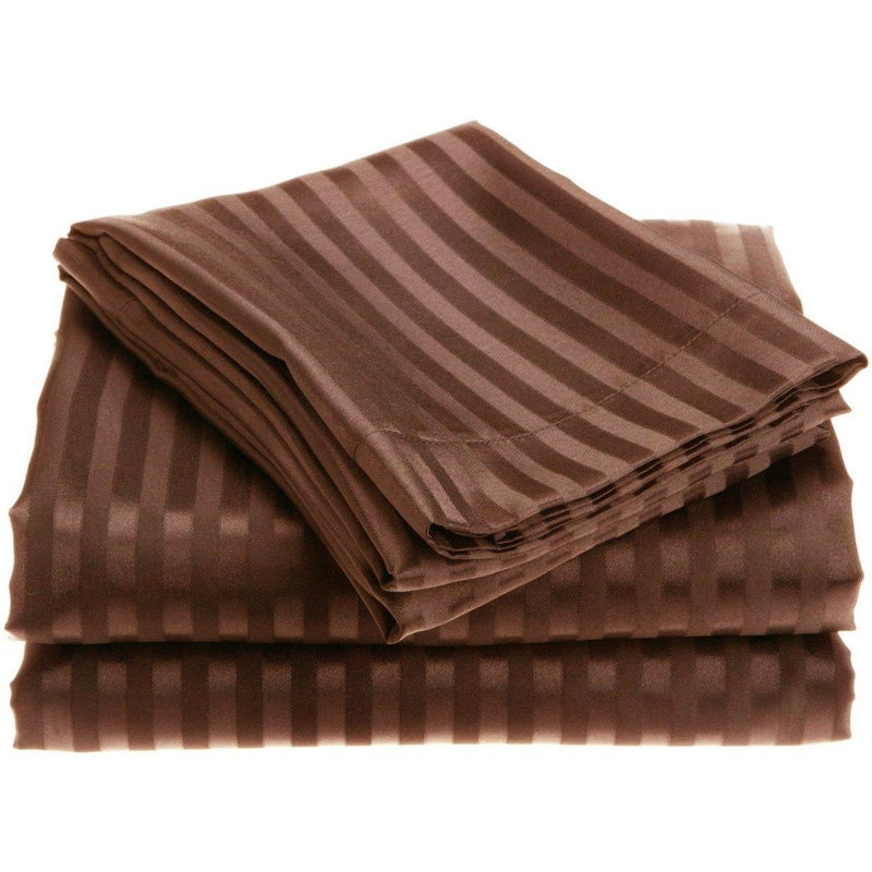 4-Piece: 1800 Series Brushed Microfiber Dobby Striped Sheet Set Linen & Bedding Twin Chocolate - DailySale