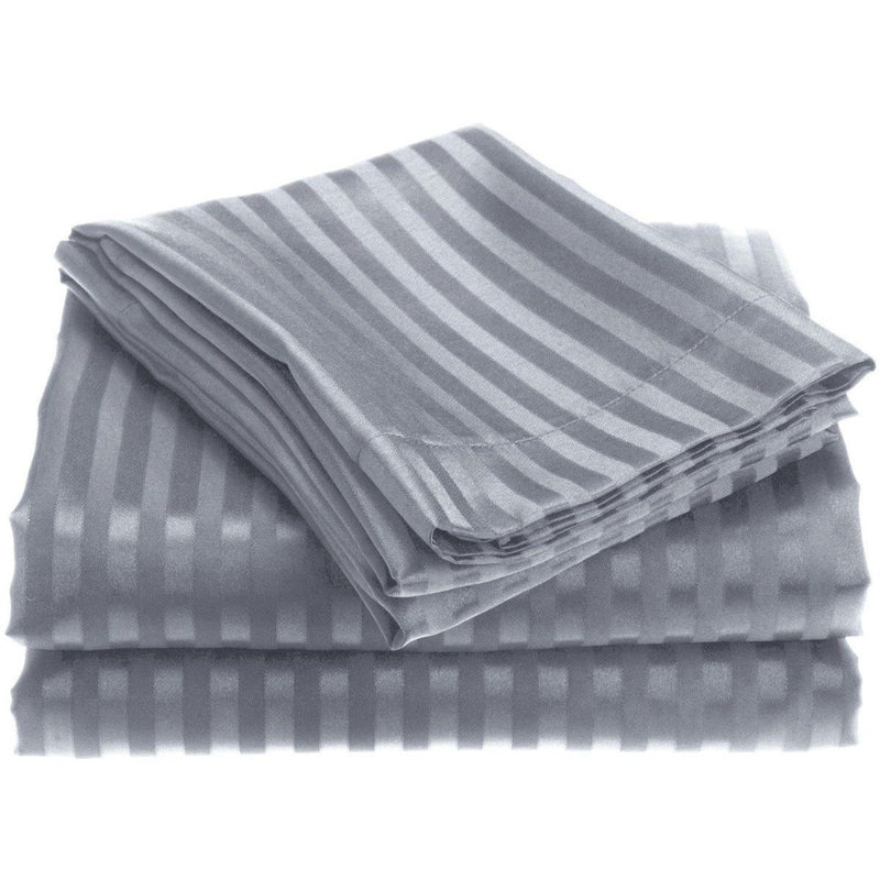 4-Piece: 1800 Series Brushed Microfiber Dobby Striped Sheet Set Linen & Bedding Twin Gray - DailySale