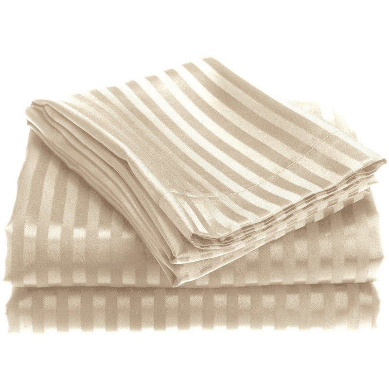 4-Piece: 1800 Series Brushed Microfiber Dobby Striped Sheet Set Linen & Bedding Twin Ivory - DailySale