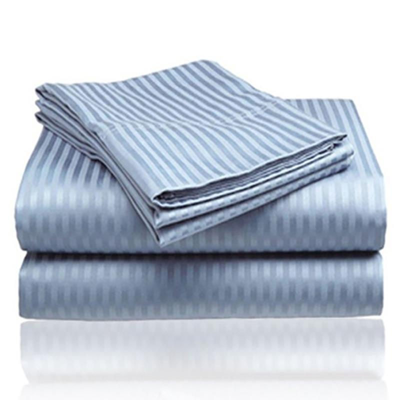 4-Piece: 1800 Series Brushed Microfiber Dobby Striped Sheet Set Linen & Bedding Twin Light Blue - DailySale