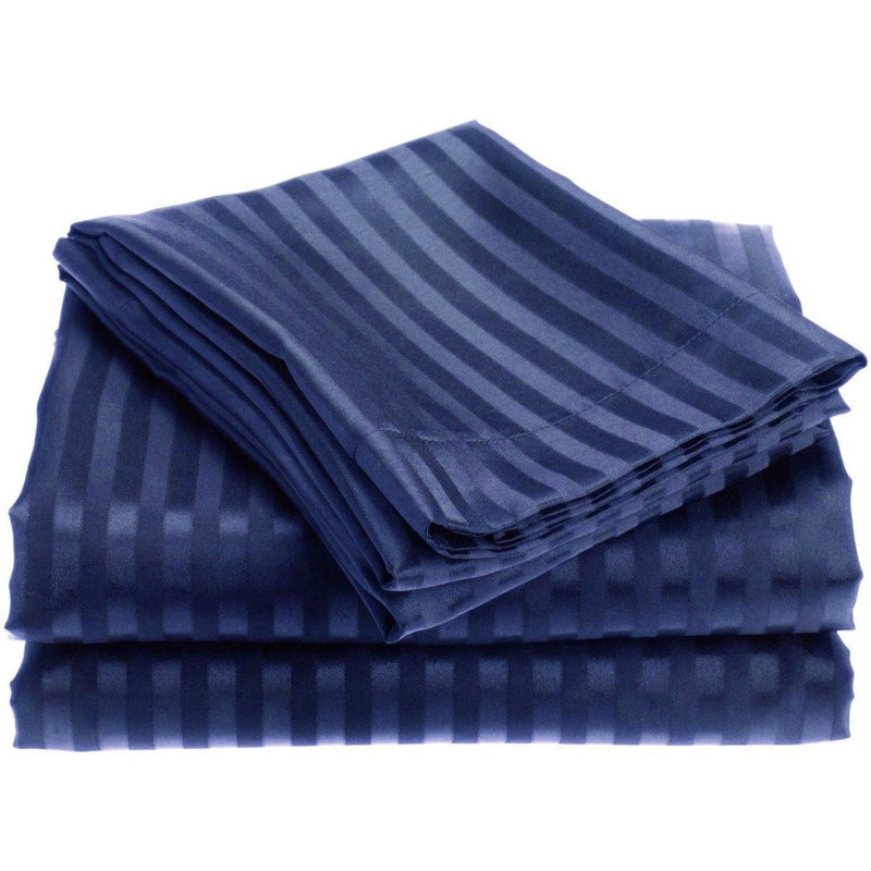 4-Piece: 1800 Series Brushed Microfiber Dobby Striped Sheet Set Linen & Bedding Twin Navy - DailySale