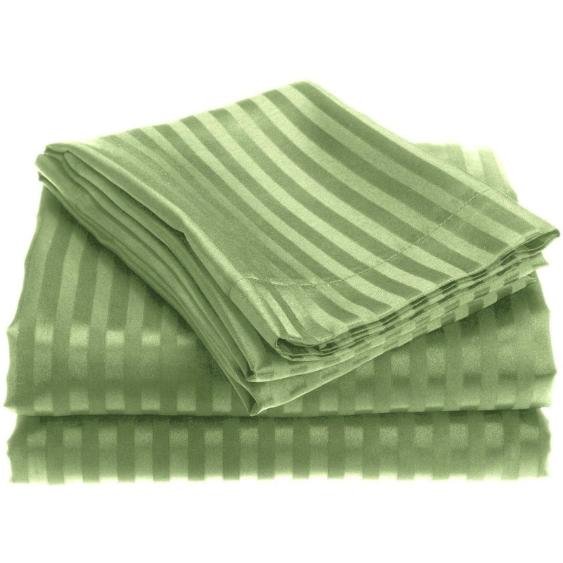 4-Piece: 1800 Series Brushed Microfiber Dobby Striped Sheet Set Linen & Bedding Twin Sage - DailySale