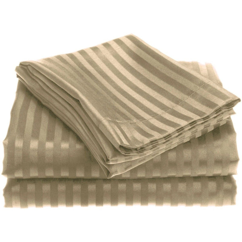 4-Piece: 1800 Series Brushed Microfiber Dobby Striped Sheet Set Linen & Bedding Twin Taupe - DailySale