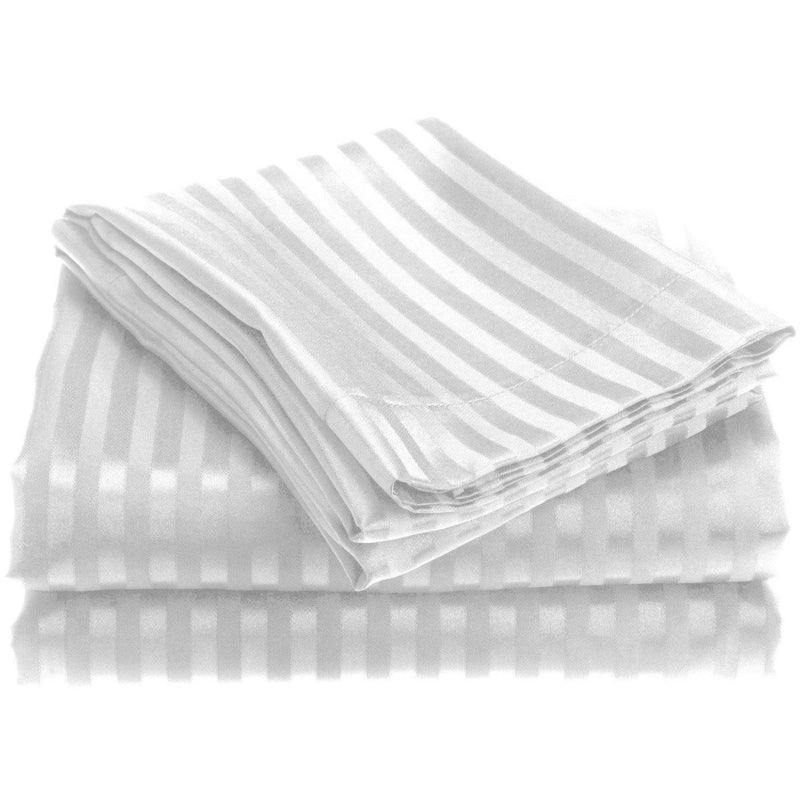 4-Piece: 1800 Series Brushed Microfiber Dobby Striped Sheet Set Linen & Bedding Twin White - DailySale