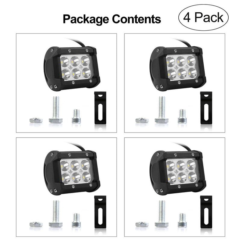 "4-Piece: 4"" 18W Dual Row LED Spot Light Pod Automotive - DailySale"