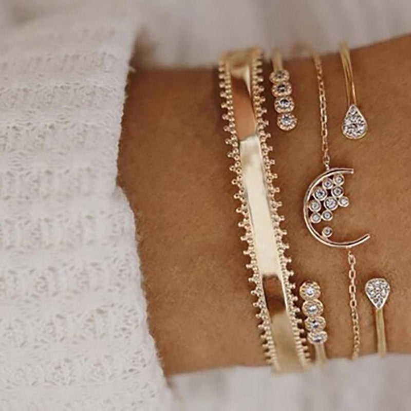 4-Piece: Diamond Water Drops Moon Crystal Women Adjustable Gold Bracelet Set Jewelry - DailySale