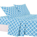 4-Piece: Lux Decor Collection Quatrefoil Sheet Set Linen & Bedding Aqua Blue Full - DailySale