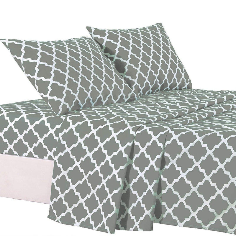 4-Piece: Lux Decor Collection Quatrefoil Sheet Set Linen & Bedding Gray Full - DailySale
