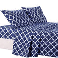4-Piece: Lux Decor Collection Quatrefoil Sheet Set Linen & Bedding Navy Twin - DailySale