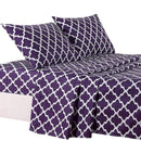 4-Piece: Lux Decor Collection Quatrefoil Sheet Set Linen & Bedding Purple Full - DailySale