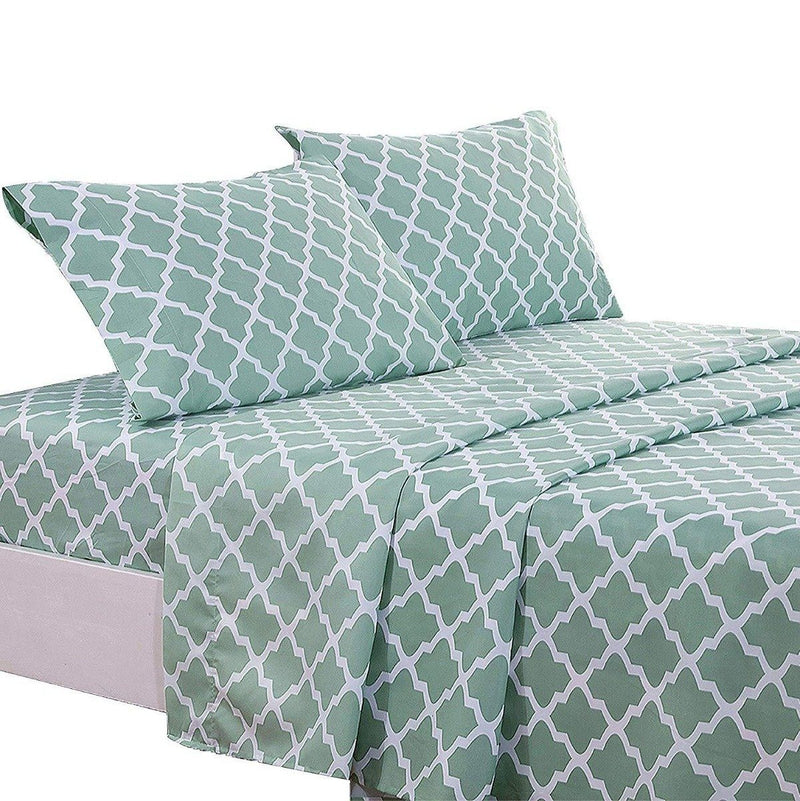 4-Piece: Lux Decor Collection Quatrefoil Sheet Set Linen & Bedding Sage Full - DailySale