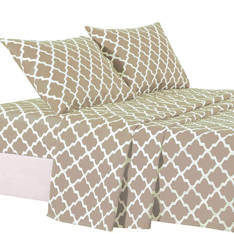 4-Piece: Lux Decor Collection Quatrefoil Sheet Set Linen & Bedding Taupe Full - DailySale