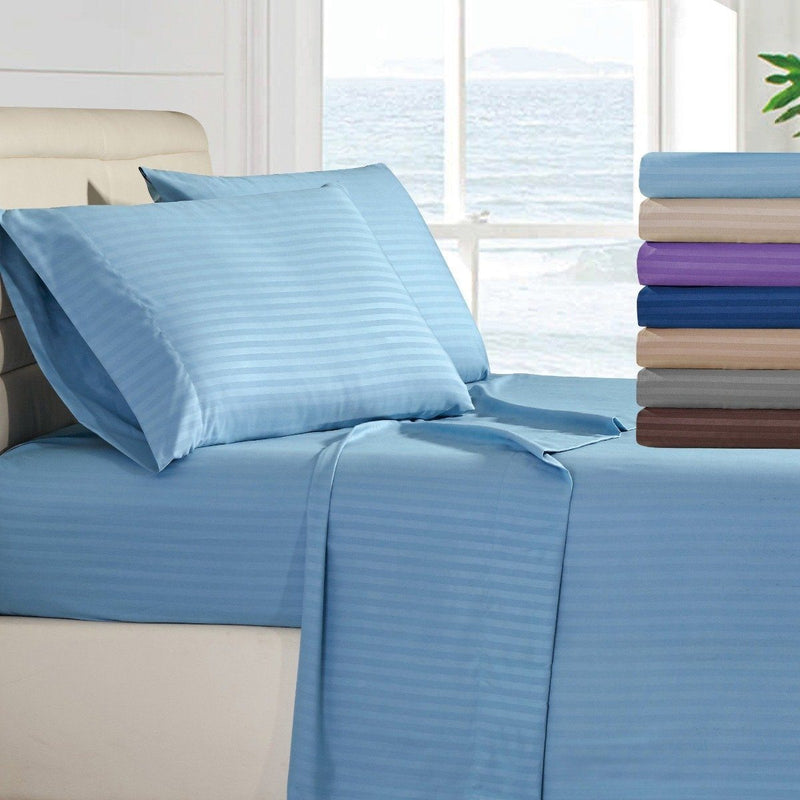 4-Piece: Lux Decor Collection Stripe Sheet Set Linen & Bedding - DailySale