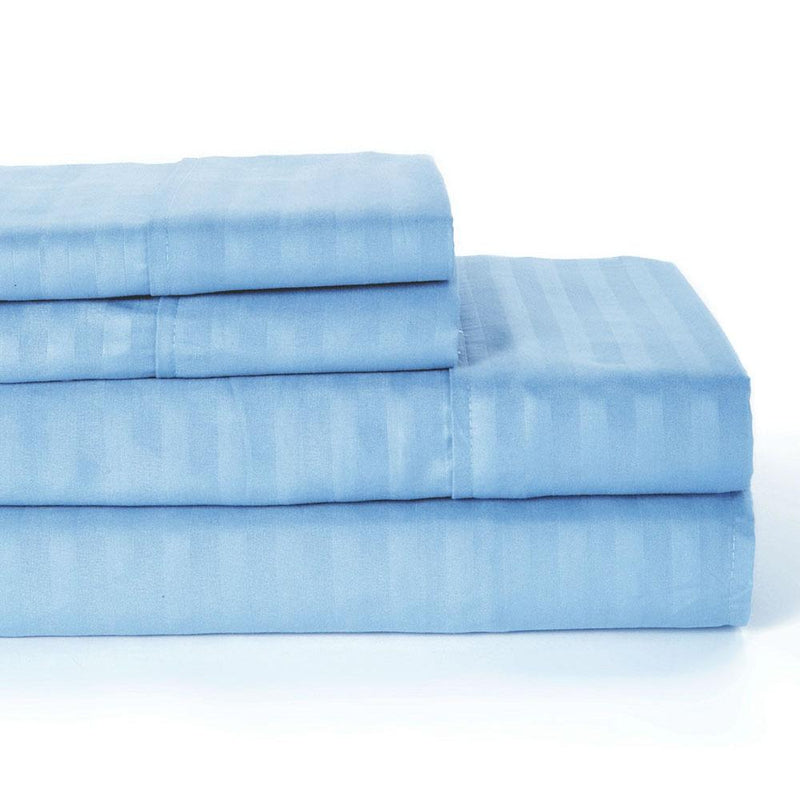 4-Piece: Lux Decor Collection Stripe Sheet Set Linen & Bedding Full Blue - DailySale