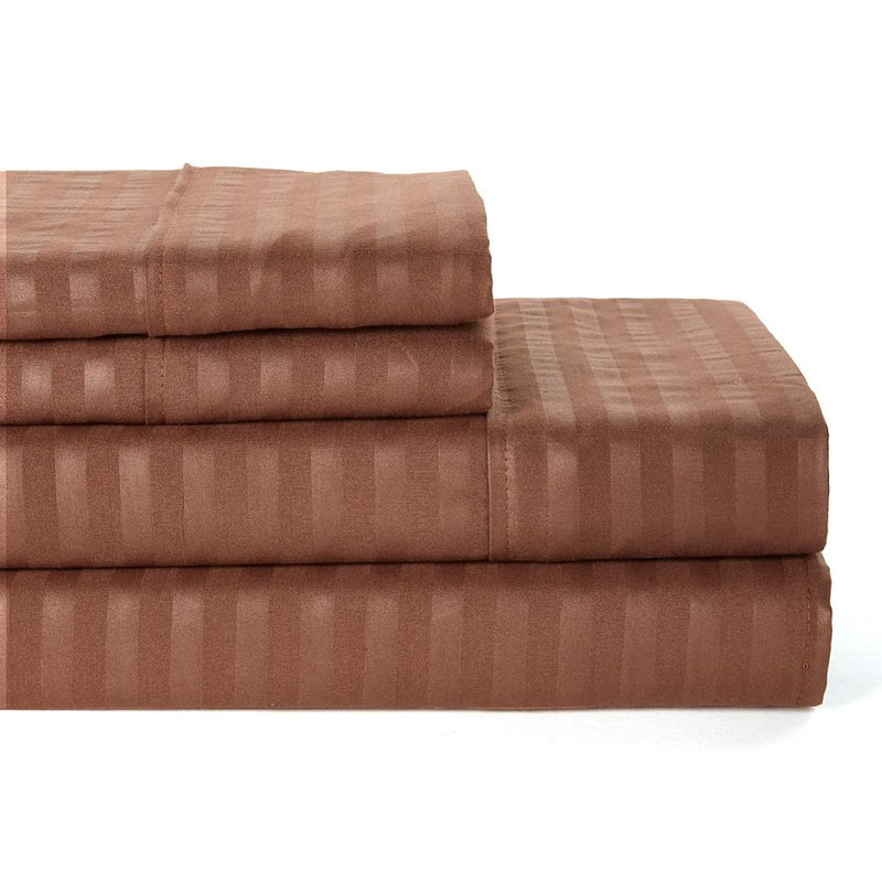 4-Piece: Lux Decor Collection Stripe Sheet Set Linen & Bedding Full Brown - DailySale