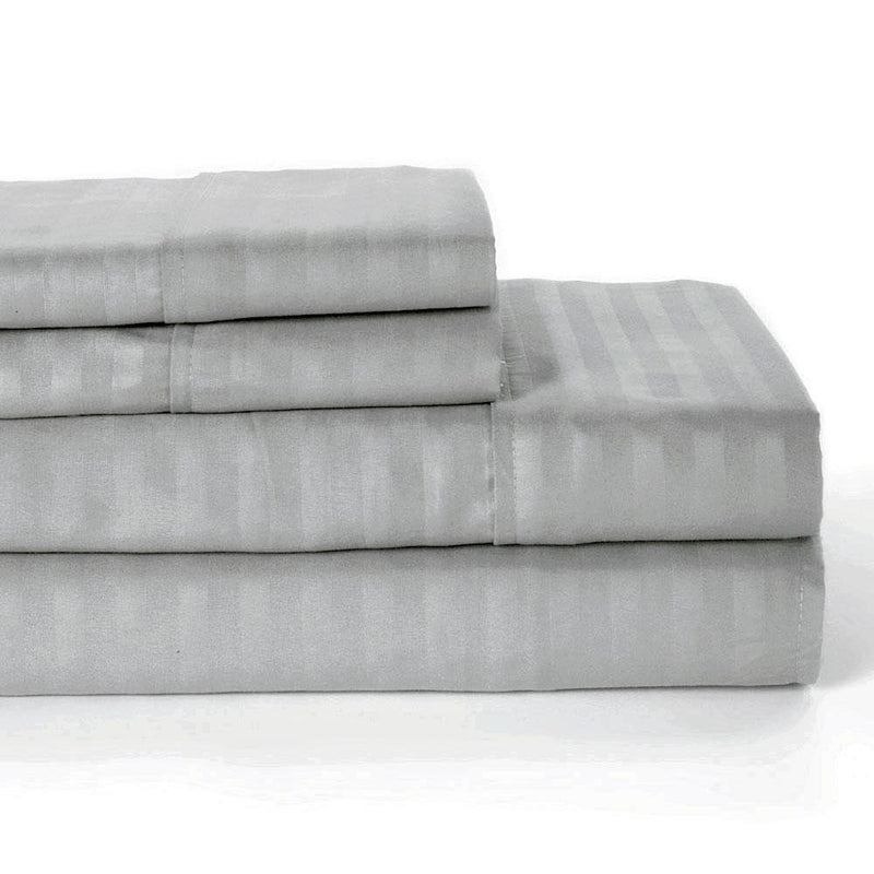 4-Piece: Lux Decor Collection Stripe Sheet Set Linen & Bedding Full Dark Gray - DailySale