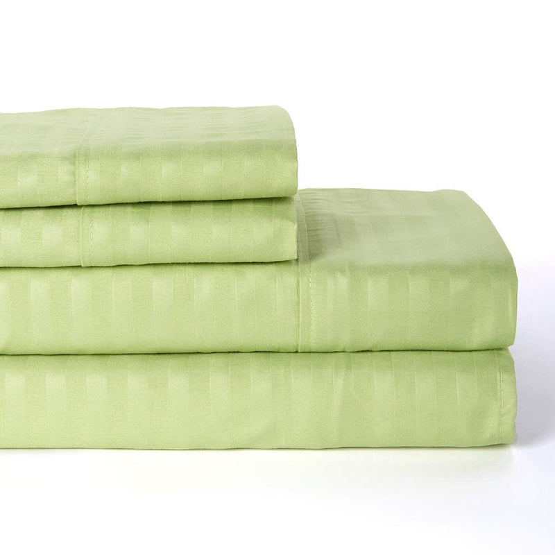 4-Piece: Lux Decor Collection Stripe Sheet Set Linen & Bedding Full Green - DailySale