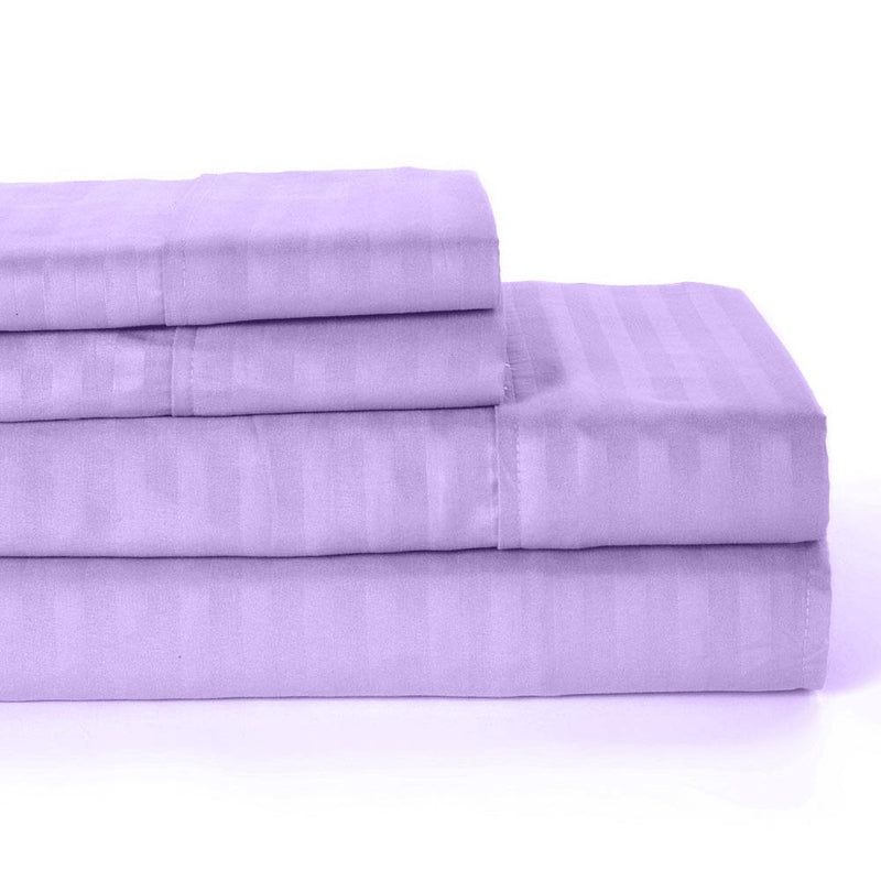 4-Piece: Lux Decor Collection Stripe Sheet Set Linen & Bedding Queen Purple - DailySale
