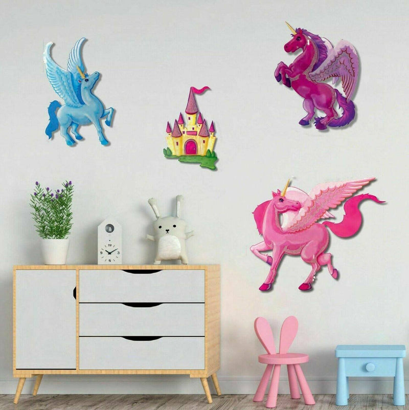 4-Piece: Malkin - Large Unicorn 3D Wall Decal Stickers Set Lighting & Decor - DailySale